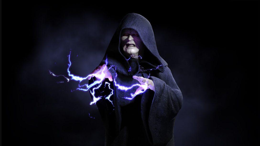 Manden en el Campo de Batalla con el Emperador en Star Wars Battlefront II