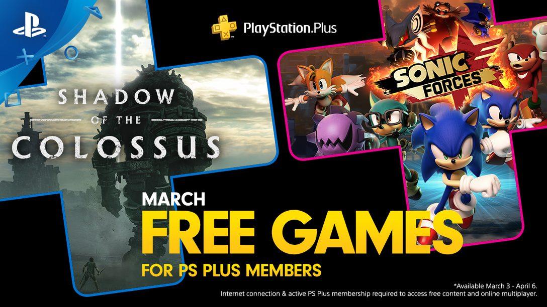 Shadow of the Colossus y Sonic Forces son los Juegos Gratuitos en Marzo de PS Plus
