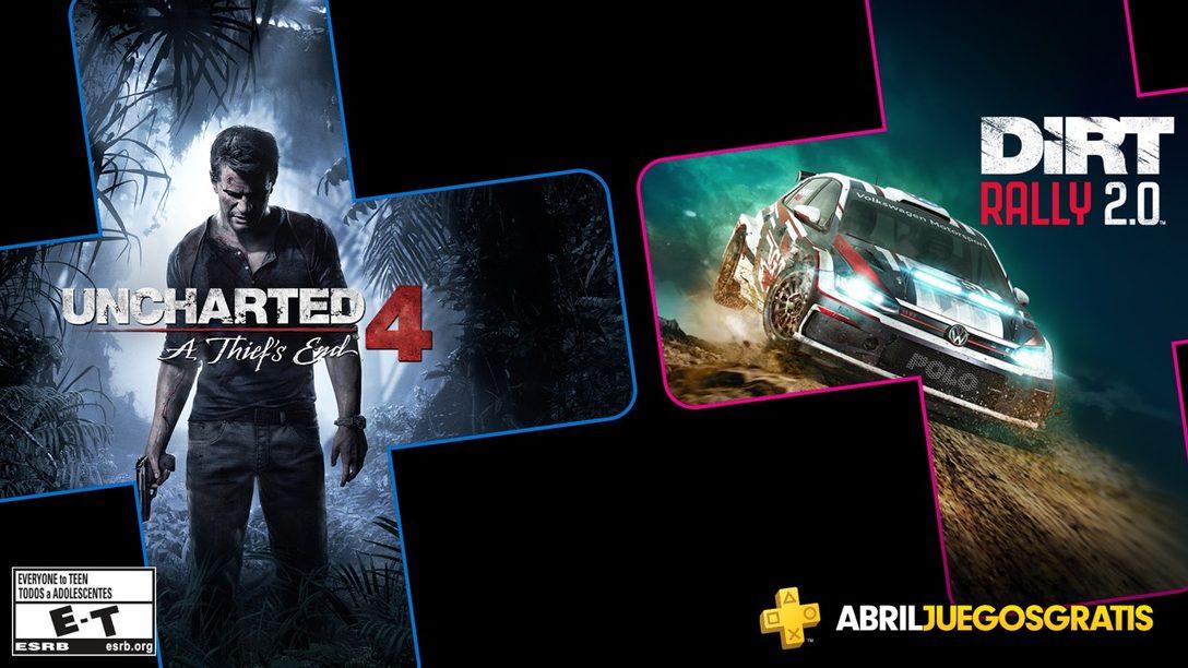 Uncharted 4: A Thief's End y Dirt Rally 2.0 son tus Juegos de PS Plus para Abril