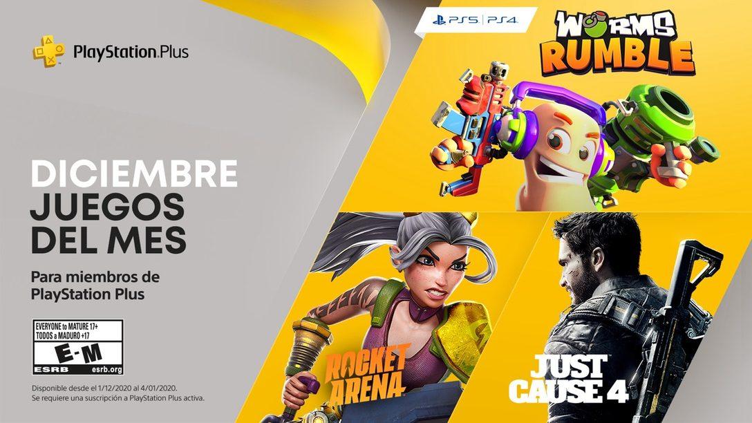 Worms Rumble, Just Cause 4 y Rocket Arena son tus juegos de PlayStation Plus para diciembre