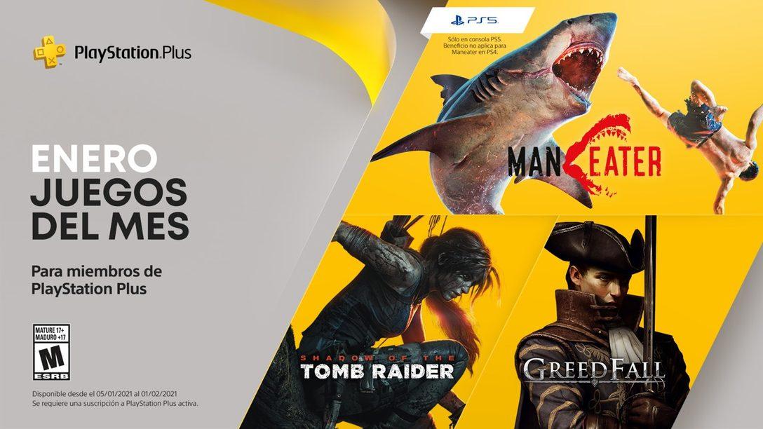 Juegos de PlayStation Plus para enero: Maneater, Shadow of the Tomb Raider y Greedfall