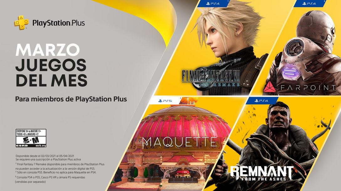 Juegos de PlayStation Plus para marzo: Final Fantasy VII Remake, Maquette, Remnant: From the Ashes y Farpoint