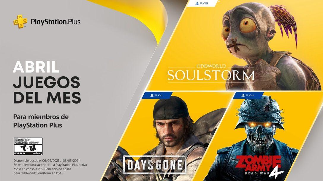 Juegos de PlayStation Plus de abril: DaysGone, Oddworld:Soulstorm y ZombieArmy4:DeadWar