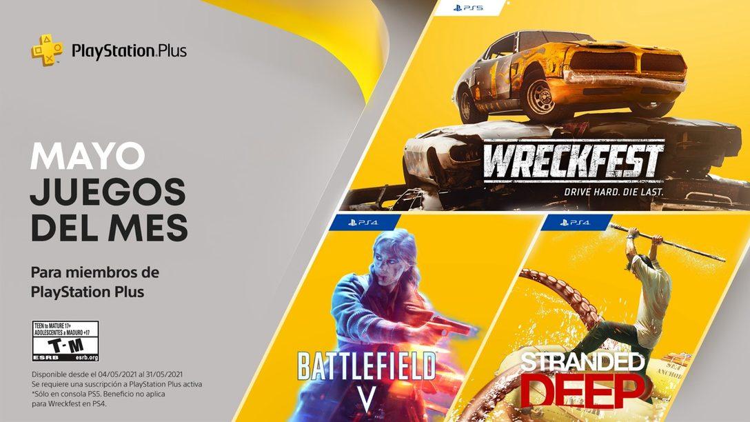 Juegos de PlayStation Plus para mayo: Battlefield V, Stranded Deep, Wreckfest: Drive Hard. Die Last.