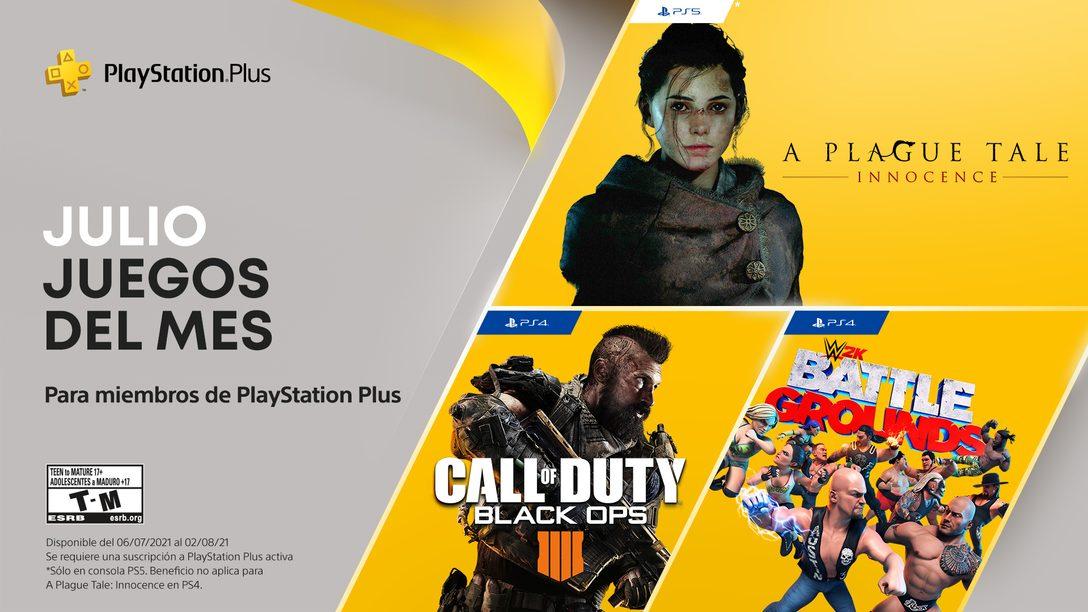 Juegos de PlayStation Plus para julio: Call of Duty: Black Ops 4, WWE 2K Battlegrounds, A Plague Tale: Innocence